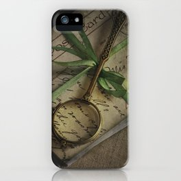 Old style loupe and vintage letters iPhone Case
