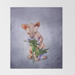Drawing Sphynx kitten Throw Blanket