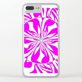 Zebra Kaleidoscope Hot Pink and White Clear iPhone Case