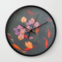Gold Fish and Water Plants Pond - Japanese Zen Garden and Nature Photography Wall Clock