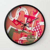 robot Wall Clocks featuring Robot by Jan Luzar