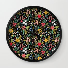 Amazing floral pattern with bright colorful flowers, plants, branches and berries on a black backgro Wall Clock