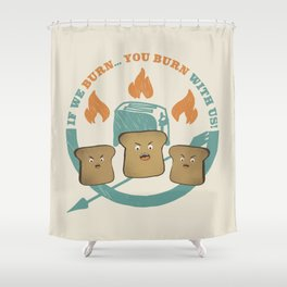 The Toast On Fire Shower Curtain
