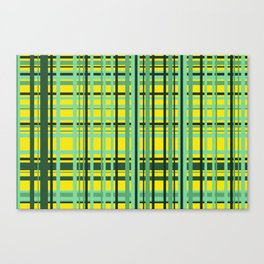 Checkered yellow green Design Canvas Print