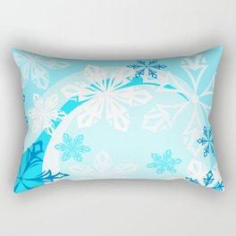 Blue Flower Art Winter Holiday Rectangular Pillow