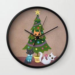 Meowy Christmas Wall Clock