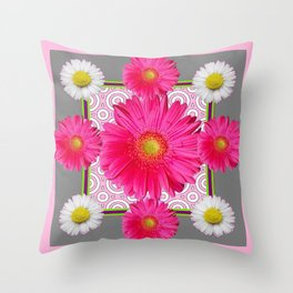 Fuchsia Gerbera & Shasta Daisy  Pink-Grey Pattern Art Throw Pillow