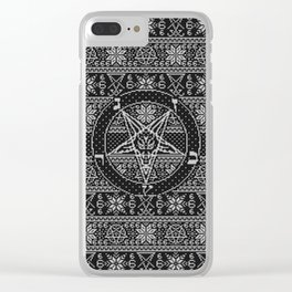 Satanic ugly sweater Clear iPhone Case