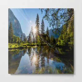 Two Suns - Sun Reflection in Merced River in Yosemite National Park California Metal Print