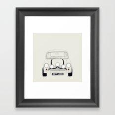 The Italian Job White Mini Cooper Framed Art Print