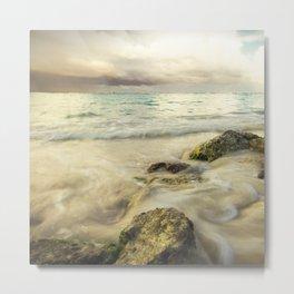 Stormy Sky Waves on Rocky Beach Metal Print
