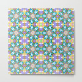 Abstract Blue Spring Flowers Metal Print