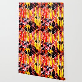 Abstract Violent Paint Expessionism Art Red and Yellow Wallpaper