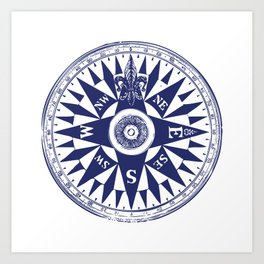 Nautical Compass | Vintage Compass | Navy Blue and White | Art Print