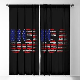 Distressed USA Flag Blackout Curtain