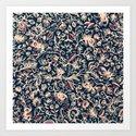 Navy Garden - floral doodle pattern in cream, dark red & blue by micklyn