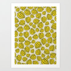 Yellow Floral Pods Art Print