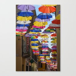 Colorful umbrella street in Italy Canvas Print