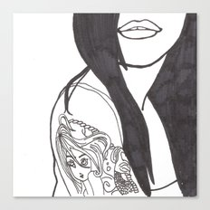 Girl With a Mermaid Tattoo Canvas Print
