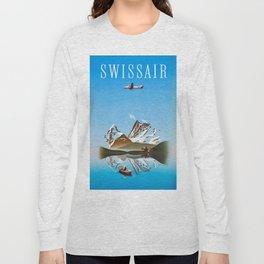 Alps - Vintage Swissair Travel Poster Long Sleeve T-shirt