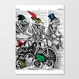 Calavera Cyclists Canvas Print