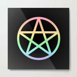 Rainbow Pentacle on Black Metal Print