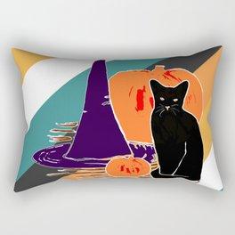 Witch Cat Pumpkin in Candy Corn Rectangular Pillow