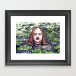 Girl in a lake, watercolor Framed Art Print