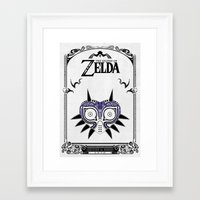 legend of zelda Framed Art Prints featuring Zelda legend - Majora's mask by Art & Be