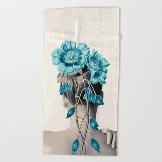 WOMAN WITH FLOWERS 3 Beach Towel