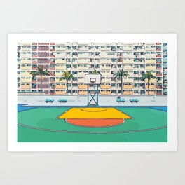 Ball is life - Baseball court Palmtrees Art Print