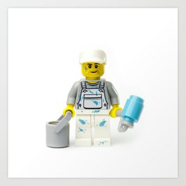 Painter painting Minifig with a roller and bucket Art Print