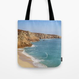 Turquoise sea at Porthcurno Beach in Cornwall, South England Tote Bag