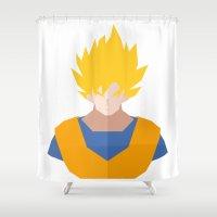 goku Shower Curtains featuring Goku SSJ by Cristiano Ávila Salomão