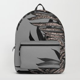 Gray Black Palm Leaves with Rose Gold Glitter #1 #tropical #decor #art #society6 Backpack