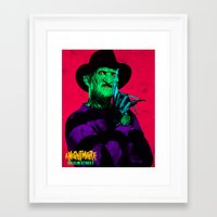 freddy krueger Framed Art Prints featuring KRUEGER by UNDEAD MISTER / MRCLV