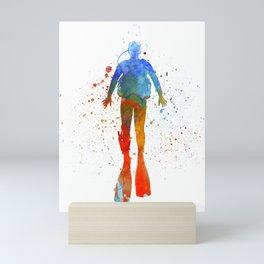 Man scuba diver 04 in watercolor Mini Art Print