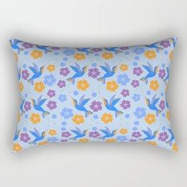Hummingbirds Floral Tropical Pattern Rectangular Pillow