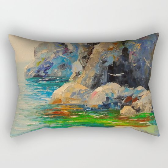 Rocks on the beach Rectangular Pillow