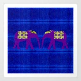 Silk Elephants Art Print