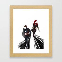 Bucky!Cap & Black Widow Framed Art Print