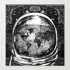 astronaut world map black and white 2 Canvas Print