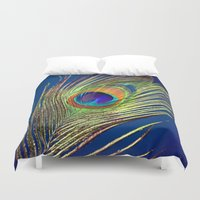 peacock feather Duvet Covers featuring peacock feather by mark ashkenazi