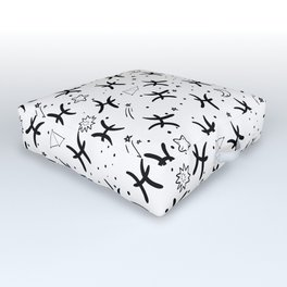 Pisces zodiac sign hand drawn seamless pattern Outdoor Floor Cushion