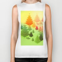 forrest Biker Tanks featuring Forrest sunrise by Knightley