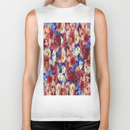 Red White Blue Flora Biker Tank