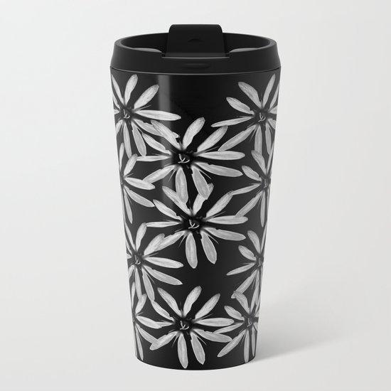 Tiny White Flowers on Black Background Metal Travel Mug