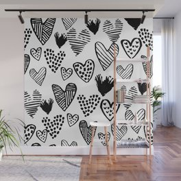 Hearts black and white hand drawn minimal love valentines day pattern gifts decor Wall Mural