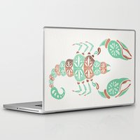 rose gold Laptop & iPad Skins featuring Scorpion – Mint & Rose Gold by Cat Coquillette