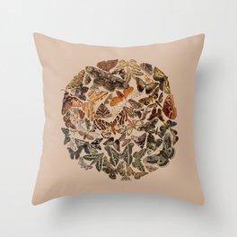 Moth circle Throw Pillow
